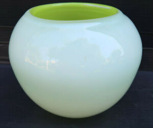 Vintage Murano Round Small White Lime Collectable Ornament Vase Bowl...