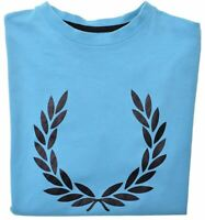 FRED PERRY Boys Graphic T-Shirt Top 15-16 Years Medium Turquoise Cotton  CC12