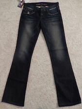 GUESS Premium Denim Pants Jeans Low Rise Dark Blue Daredevil Boot Cut Size 27