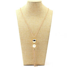 Fashion Jewelry Silver or Gold Plated Pearl Pendant Necklace Long Tassel 35-3/4