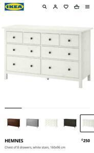 IKEA HEMNES Chest of 8 Drawers 160x96x50cm - Gloss White Dresser