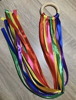 Baby Shower gifts Handmade Sensory ribbon ring Rainbow Colours SEN Toy