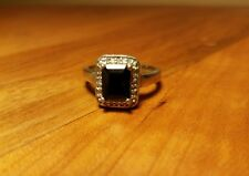 Black onyx and diamond ring in sterling silver, size 7