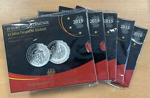 BRD - 1 x 25 Euro Sammlermünze - 25 Jahre Deutsche Einheit 2015 Spiegelglanz OVP