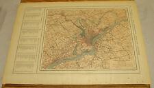 1908 Colliers Antique COLOR Map/PHILADELPHIA, b/w PORTO RICO & RHODE ISLAND