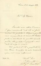 Lettera Autografo Tenente Generale Marcello Gianotti Regno di Sardegna 1863