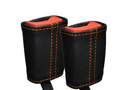 Puntadas de hilo naranja cabe Ford Fiesta Mk6 Mk7 Fusion 02-08 2x cinturón de cuero cubre