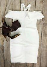 BCBG MaxAzria Bodycon Bandage Cocktail Dress White MINI A14 Off shoulder  *XL