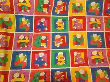 Kids Kittens with numbers in squares primary colors fabric 3- yards long