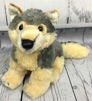 "Aurora 12"" Gray Wolf Standing Plush Stuffed Animal Realistic Classroom"