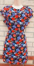 G21 FLORAL ORANGE BLUE FLORAL CHIFFON SKATER FRILLY ARMS RARE GYPSY DRESS 10 S