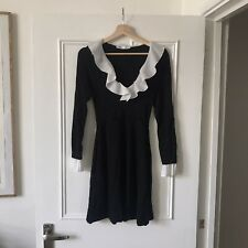 Zara 70s Black Knit Dress With White Collar And Sleeves The Vampire's Wife