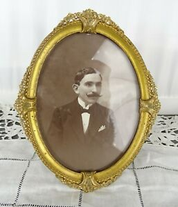 "6""  Antique French Gilt Bronze Picture Frame - Flowers Decor - Art Deco"