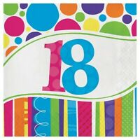 NAPKINS CAB DOTS 18TH PACK OF 18 BIRTHDAY PARTY SUPPLIES
