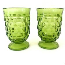 "x2 Vintage Green Pine Cone/Textured 4"" tall Footed Drinking Glasses"