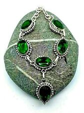 "Green Peridot Silver Overlay Handmade Gemstone Necklace New 18"" Adjustable"