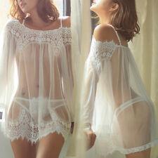 Sexy Para Mujeres Lencería Prendas para dormir Ropa de Dormir Babydoll Encaje Vestido Ropa Interior G-string