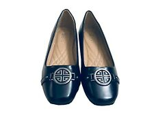 Golden Road Womens Comfort Ballet Flats Faux Leather Slip On Shoes Navy 6.5