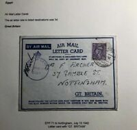 1941 Egypt Air Letter Censored Cover To Nottingham England