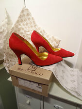 Women's Bruno Magli Madonna Shoes Pumps Red Suede Leather 6.5 36.5 Bologna Italy