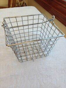 """Square  THICK Wire Basket with Handle 7"""" x 7"""" on top , 5'' tall ,  with Handle"""