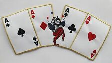 "#3578 XL 10 1/4"" Four Aces Poker Card,Joker Embroidery Iron On Applique Patch"
