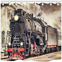Vintage Industrial Steam Engine Shower Curtain, Retro Train Bathroom Curtains