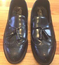 Florsheim men's Royal Imperial 9.5 D Black Leather Wingtip Tassel Loafer Shoes