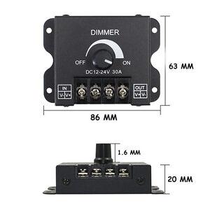 LED Switch Dimmer DC 12V 24V 30A 360W Adjustable Bright Lamp Strip Driver Power