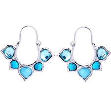 Boucles d'Oreilles Dormeuse Argenté Anneau Coeur Bleu Turquoise Ethnique AA20