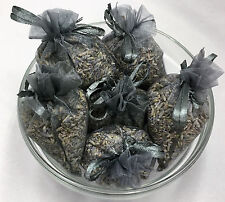 Set of 6 Lavender Sachets made with Pewter Organza Bags