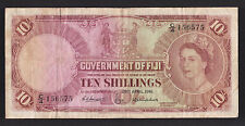 c1961 Goverment of Fiji 10 Shillings Banknote paper money circulated