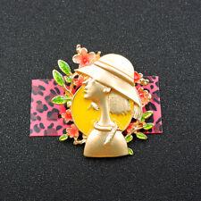 Exquisite Gold Enamel Elegant Hat Lady Flower Charm Brooch Pin