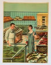 ca. 1930 ORIGINAL VINTAGE FOOD STORE POSTER SEAFOOD FISH MARKET GERMANY PRINT