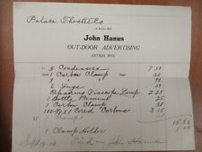 Movie letterhead John Hanus outdoor advertising Antigo Palace theatre 9/19/1910