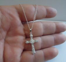 925 STERLING SILVER GOTHIC CROSS NECKLACE  PENDANT W/ 1 cts DIAMONDS/ 18 INCH