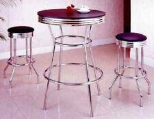 Pub Table Set Round Dining Retro Bar Chrome Stools 3 Piece Bistro Soda Fountain