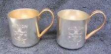 2 Vtg SMIRNOFF Vodka MOSCOW MULE MUGS Set Silver Alum 12 oz Barware HIS & HERS
