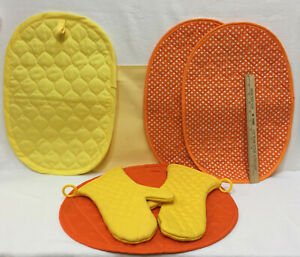 Placemats Oven Mitts Orange Yellow Kitchen Decor Variety Reversible Quilted 7 Pc