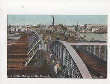 Pontoon Bridge On The Hooghly Calcutta India Vintage Postcard Hartmann 213b