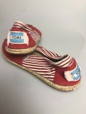 Toms Size 8.5 Flat Shoes Red Stripes Canvas Rope Slip On