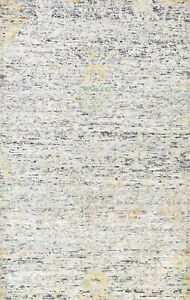 6'x9' Abstract Modern Indian Oriental Area Rug Hand-knotted Wool/ Silk Carpet