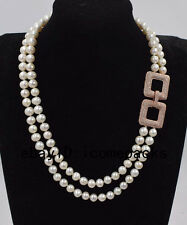 """2rows freshwater pearl round 8-9mm  necklace 18-19"""" nature wholesale gift beads"""