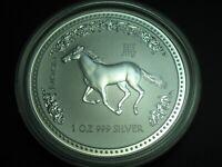 1 Unze 31,1 Gramm 999 Silber 1 Dollar Australien 2002 Jahr des Pferdes
