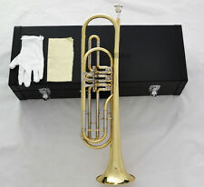 Professional 3th Rotary Valves Bass Trumpet Gold Bb Key Horn With Case Free Ship
