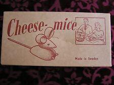 VINTAGE CHEESE MICE WOOD PICKS HORS D'OEUVERS SERVERS IN ORIGINAL BOX SET OF TWO