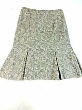 $98 NWT WHITE HOUSE BLK MARKET WOMENS TAN PAISLEY WOOL BLEND GODET SKIRT SIZE 2