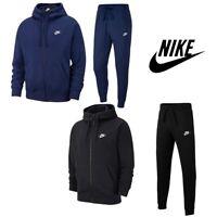 NIKE Mens Club Activewear Full Zip Tracksuit Hoodie Jogging Bottom Black Navy