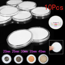 10x Clear Round Plastic Coin Capsule Container Storage Box Holder Case 20 ~ 40mm