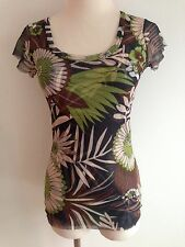 Sweat Pea Layered Top Black, Brown, Green & White Floral SIze M